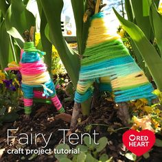Fairy Tent Craft Project Tutorial -- In some parts of the world, spring has come early! If you're getting your garden ready, and have kids who love to create, why not make a fairy garden for them to play with? A quick internet search will give you plenty of ideas. We hope you start with these cute tents! They're great for using up scrap yarn and are a great way to add color to any garden, big or small.