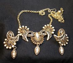 Fabulous Victorian Revival Necklace and Earring Set Bridal