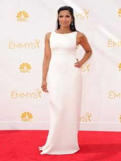 2b4268bc771 Wholesale 2014 Emmy Awards Celebrity Dresses Red Carpet Dress Chiffon White  With Sequined