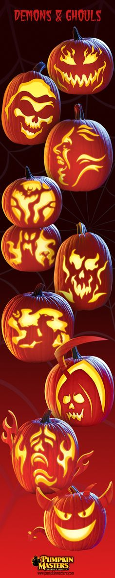 Scary pumpkin carving patterns from Pumpkin Masters!