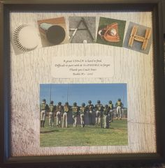 Made this for my sons baseball coach.  Frame is 12x12 and fit a scrapbook sheet perfectly! Coach gift! Found the baseball letter photography online with some deep digging.  I'm so happy with how it turned out!!⚾️