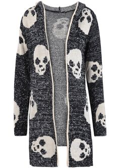Black Hooded Long Sleeve Skull Pattern Cardigan US$37.70