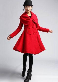 Red Wool Coat Short jacket dress coat Winter coat winter