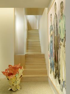 Wonderful Penthouse Interior Filled with Art Works : Modern Art House Staircase Decor With Canvas Painting Decoration