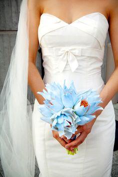 Baltimore Aquarium Wedding Bride Bouquet Blue Tropical Flowers Wedding at the Baltimore Aquarium: Jenny + Mo Blue Wedding, Wedding Bride, Wedding Gowns, Dream Wedding, Exotic Wedding, Wedding Candy, Wedding Couples, Bride Bouquets, Flower Bouquet Wedding