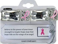 """Pink Ribbon Bracelet Breast Cancer Awareness """"Ride on The Wings of An Angel"""" 
