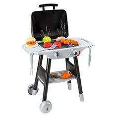 Smoby - BBQ Plancha Play Grill with Accessories - Summer is back, it's time to grill delicious meals! Kids can grill indoors or take the set outside and grill just like mom and dad. Turn the button and see flames appear! A grill side and a griddle side, to fit with every tastes. Includes 5 vegetables, 1 hamburger and bun, 2 sausages, 1 chicken, 2 Kitchen utensils. Minimal assembly required. Suitable for ages 3 years old and up. Approximate dimensions are - 38.4 inches high x 14.5 inch...