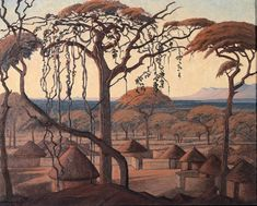Jacob Hendrik Pierneef (South African, A view over Chuniespoort Landscape Art, Landscape Paintings, African Tree, African Paintings, South African Artists, Light Images, African History, Minimalist Art, Art And Architecture