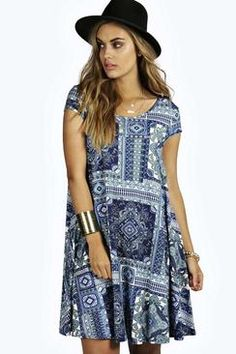 Plus Emma Paisley Print Swing Dress