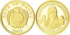 World Coins - NAURU, 10 Dollars, 2003, KM #21, MS(65-70), Gold, 1.25