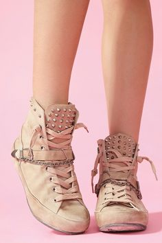 Gal Alexander Spiked Sneaker - spiky and laces everywhere, even a chain and they're still so cute.