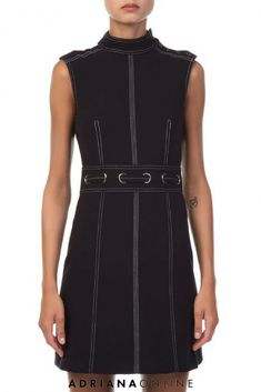 Sleeveless dark navy mini dress with full collar and inset belt at waist. Veronica Beard new collection is available now on Adriana Online. Check it out; Navy Dress, Dresses For Work, Online Check, Veronica Beard, Dark Navy, Dress To Impress, Night Out, Belt