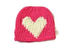 Newborn Baby Hat Pink Cream Heart by PreciousBowtique on Etsy