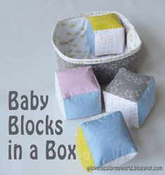 Perfect for a handmade shower gift, use bright fabrics to make a set of Baby Blocks in a Box with this free Tutorial.