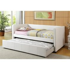 FOA Cadiz collection White leatherette upholstered twin day bed with twin pull out trundle