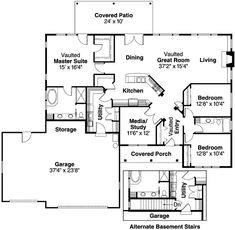 House Plan - 3 Beds 2 Baths 2130 Sq/Ft Plan #124-424 Floor Plan - Main Floor Plan - Houseplans.com