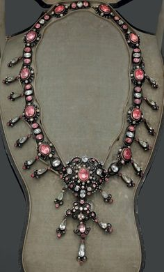 An antique silver, enamel, rose quartz, quartz and pearl necklace, late 18th to mid 19th century. #antique #RomanticPeriod #necklace