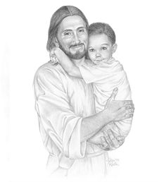 sketches of Jesus with children Jesus Is Risen, Jesus Is Lord, Jesus Loves, Jesus Smiling, Jesus Drawings, Pencil Drawings, Pictures Of Jesus Christ, Jesus Today, Church Pictures