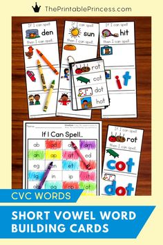 Great for building Kindergarten and first grade literacy! CVC Words Short Vowel Word Building Cards is a quick, easy to prep activity to help students read, build, and write CVC words. Great for rhyming words and word families too!