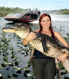 """""""Gator Boy"""" Ashley Lawrence with the Glade Runner flying over a river of grass behind her"""