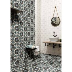 Fiorella Matte Ceramic Tile - 8 x 8 - 100609197 Spanish Bathroom, Spanish Tile, Bathroom Tile Designs, Bathroom Floor Tiles, Bathroom Ideas, Ceramic Tile Bathrooms, Pool Bathroom, Shower Tiles, Basement Bathroom