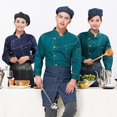 Resultado de imagen para uniformes de chef estampados Waiter Uniform, Hotel Uniform, Restaurant Uniforms, Unique Hotels, Restaurant Kitchen, Le Chef, Free Clothes, Leather Men, Work Wear