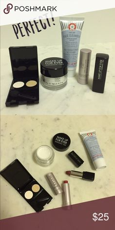 Mini size beauty set FAB FIRST AID BEAUTY face cleanser 28.3g / Freah sugar rose tinted lip treatment 2.2g/           Make up for ever  rouge artist natural N9 1.5g/.    Make up for ever HD high definition powder 5g/    Lancome eyeshades 103 moonlight ,202cream.  Never used Makeup Forever Makeup Eyeshadow