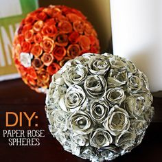 Today's project is simple, but time consuming and worth every minute! I was inspired by my friend Suzy's gorgeous quilled flower topiaries to create some paper flower spheres of my own. If you missed the inspiration over at the Sitcom, be sure and visit the link for how Suzy created these: I