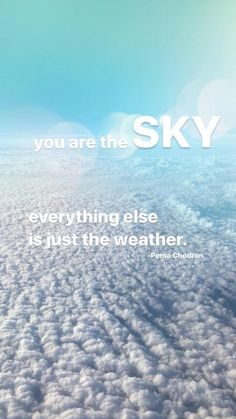 """""""You are the sky. Everything else is just the weather."""" -Pema Chodron"""