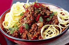 Spaghetti Bolognese made with lots of veg and herbs, extra lean minced beef and wholemeal spaghetti.