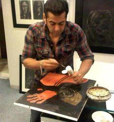 Salman Khan painting in his living room