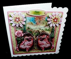Hedgehog Love Mini Kit Valentine Anniversary on Craftsuprint designed by Toni Martin - made by Diane Hitchcox - After printing onto 240 gram card i mounted on a 8 by 8 card using DST ,then added decoupage with sticky pads. - Now available for download!