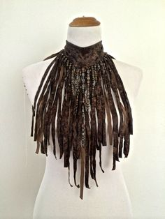 "The ""AMAZON WARRIOR""  Brown faux leather hand cut Fringe Necklace choker, decorated with beads"