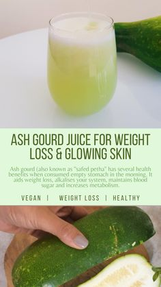 Ash gourd has many health benefits and is also used in Ayurveda. It is alkaline, has very high fiber content and it increases the metabolic rate. These properties help in weight loss. It is well-known to help patients with diabetes, acts as an anti-depressant and helps in treating sleeping disorders. Having vegan ash gourd juice in the morning works wonders for your health