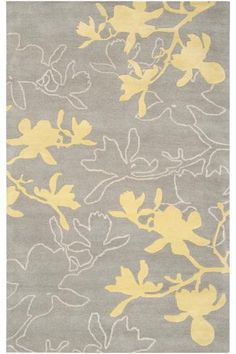 Grey white yelow - Weeping area rug - homedecorators.com
