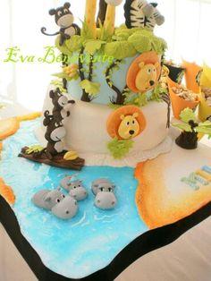 The Jungle cake.love the hippos! Jungle Theme Cakes, Safari Cakes, 1st Birthday Cakes, Baby First Birthday, Zoo Cake, Hippo Cake, Cupcakes Flores, Twins 1st Birthdays, Animal Cakes
