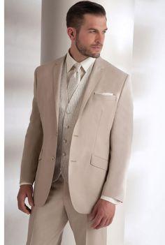 Costume homme beige à 2 boutons et poches à rabats