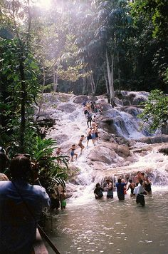 "Climb the famous Dunn's River Falls of Ocho Rios, Jamaica. Natural stone ""steps"" allow you to ascend the 600 feet of waterfalls."