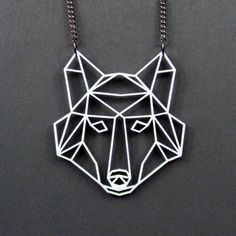 Geometric Low Poly Wolf Head Necklace by missJdesigns on Etsy
