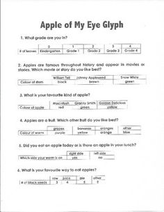 Fall time is apple time!  To do this glyph some introduction to apple is needed.  I used this in the idle of an apple theme.  Before making the glyph the students need to have tasted the 3 kinds of apples - Macintosh, Granny Smith, and Golden Delicious.