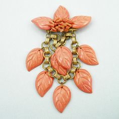Vintage Miriam Haskell Faux Coral Pin