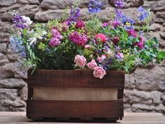 A vintage wine crate makes a stylish home for spring plants. #EtsyGermany