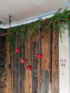 Isn't this just gorgeous for Winter/Christmas--those are real apples & not ornaments. Very natural & eco-green. via Made In Persbo Swedish Christmas, Cottage Christmas, Christmas Mood, Scandinavian Christmas, Primitive Christmas, Country Christmas, Xmas, Scandinavian Cabin, Do It Yourself Decorating