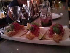 Basa Fish Tacos with Blueberry Mojito