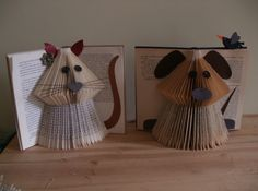 Cat and Dog Book Sculptures by Clara Maffei Architect, Designer.