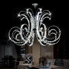 Getop Inch X Inch Modern Luxury LED Crystal Chandelier Art Lustre LED Chip Design Ceiling Light Fixture ( cold white ). Crystal Pendant Lighting, Pendant Light Fixtures, Ceiling Light Fixtures, Chandelier Ceiling Lights, Chandeliers, Ceiling Lamp, Lustre Led, Elegant Home Decor, Lampe Led