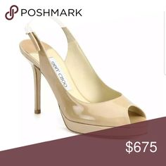 """{Jimmy Choo} Nova 100 P. Leather Nude Slingbacks {Jimmy Choo} Nova 100 Nude Patent Leather Slingbacks. Sz 37 1/2 (Sz. 7.5) From the 24:7 Collection. High shine, high style, a modern classic in sleek patent leather. Self-covered heel, 4"""" (100mm)Covered platform, ?"""" (20mm)Compares to a 3?"""" heel (80mm) Peep toe. Adjustable strap. Leather lining and sole. Made in Italy.   OUR FIT MODEL RECOMMENDS ordering true size..  Only worn once indoors for an hour. Excellent condition. Look BRAND new…"""