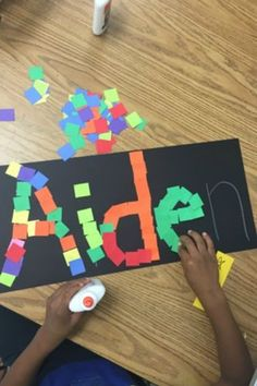 Lower Elementary: A name mosaic is fun and educational.