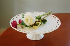 """White Milk Glass Cake Stand with Lace Edge, 14"""" Wedding Cake Stand, Cupcake Stand - SOLD!"""