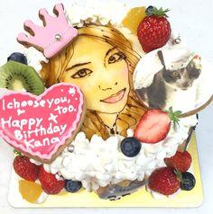 猫好き美人の似顔絵ケーキ